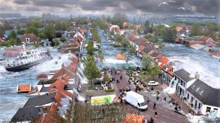 Fiktivní záplava ve městě po úderu tsunami.