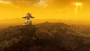 Kresba povrchu Venuše se sovětskou sondou Věnera v popředí. Sondy Věnera přistávaly na Marsu v první polovině osmdesátých let minulého století.
