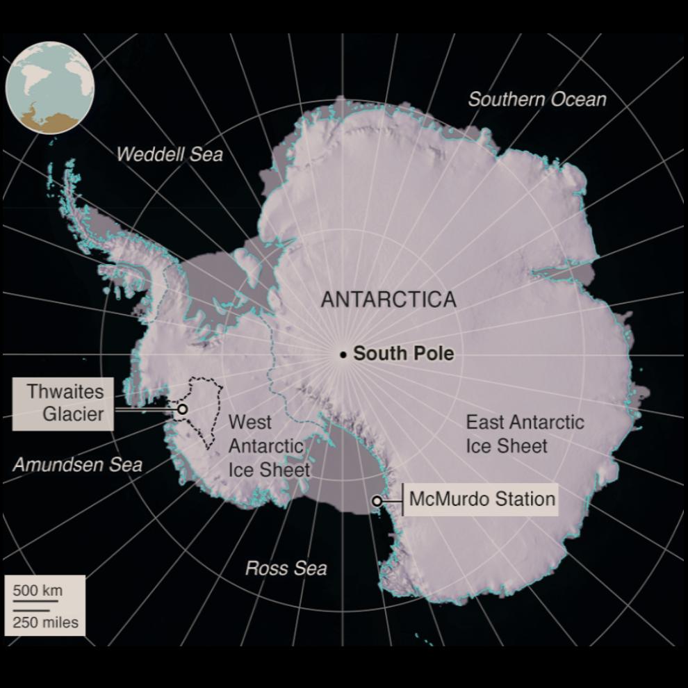 Thwaitesův ledovec na mapě Antarktidy.