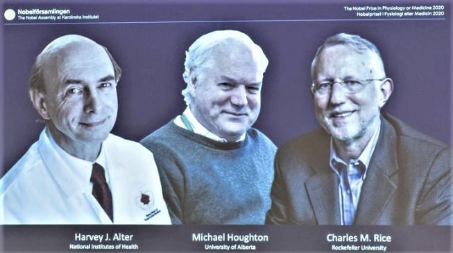 Držitelé Nobelovy ceny za lékařství pro rok 2020.