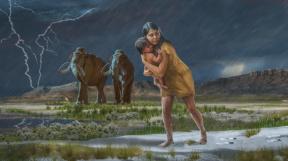 Matka s dítětem v divočině doby ledové