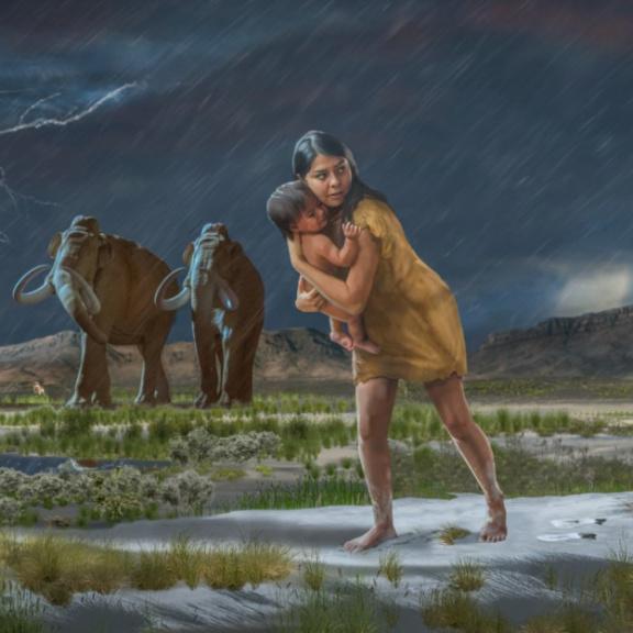 Vědci sestavili ze stop příběh ženy a dítěte z doby ledové