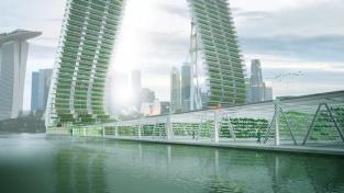 Návrh plovoucí vertikální farmy od společnosti Sky Greens, který by zvýšil zemědělskou výrobu v Singapuru o 50 procent.