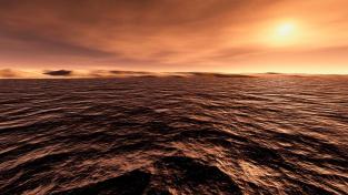 Záplava na Marsu na počítačovém obrázku. Před miliardami let, za sedmero krátery a sedmero horami...