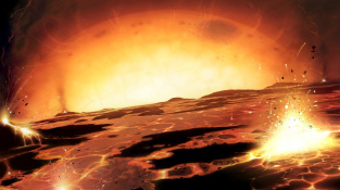 Slunce ve fázi rudého obra spaluje Zemi.