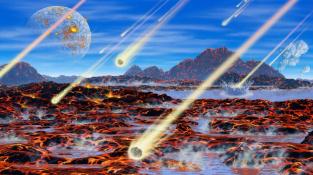 Kresba mladé Země s Měsícem bombardované meteority před zhruba čtyřmi miliardami let.