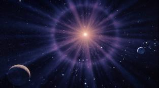 Počítačový obrázek supernovy se Zemí (vpravo) a Měsícem (vlevo).