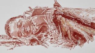 Umělecká rekonstrukce pohřbeného dítěte.