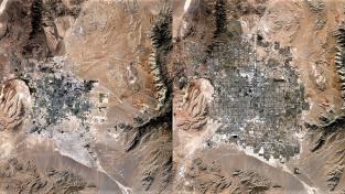 Satelitní snímky ukazující expanzi Las Vegas do pouště mezi roky 1989 (vlevo) a 2019 (vpravo). Během třiceti let vzrostla v metropolitní oblasti Las Vegas populace víc než čtyřnásobně – ze 710 tisíc na více než tři miliony lidí.
