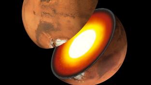 Kůra, plášť a jádro rudé planety.