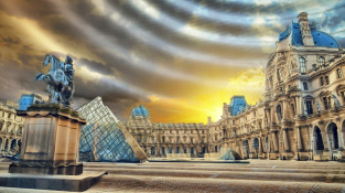 Konceptuální ilustrace gravitačních vln nad Louvre.