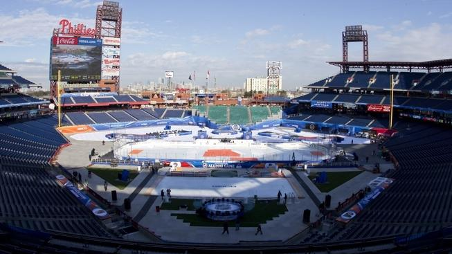 Image: 0111685290, License: Rights managed, Restrictions: Not available for use in Corbis Merchandise. Corbis represents exclusive rights to this image (with the exception of the United States)., December 31, 2011: Wide view of Citizen Bank Park prior to Alumni game between former New York Rangers and Philadelphia Flyers at  NHL Winter Classic in Philadelphia, Pennsylvania.(Credit Image: © Chris Szagola/Cal Sport Media/ZUMAPRESS.com), Place: Philadelphia, Pennsylvania, USA, Model Release: No or not aplicable, Credit line: Profimedia.cz, Corbis