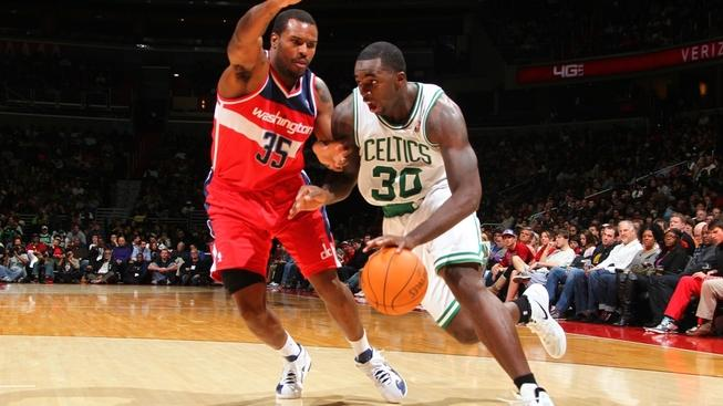 Image: 0111733568, License: Rights managed, WASHINGTON, DC - JANUARY 1: Brandon Bass #30 of the Boston Celtics drives against Trevor Booker #35 of the Washington Wizards during the game at the Verizon Center on January 1, 2012 in Washington, DC. NOTE TO USER: User expressly acknowledges and agrees that, by downloading and or using this photograph, User is consenting to the terms and conditions of the Getty Images License Agreement. Mandatory Copyright Notice: Copyright 2012 NBAE   Ned Dishman/NBAE via Getty Images/AFP, Place: UNITED STATES, Model Release: No or not aplicable, Credit line: Profimedia.cz, Getty images