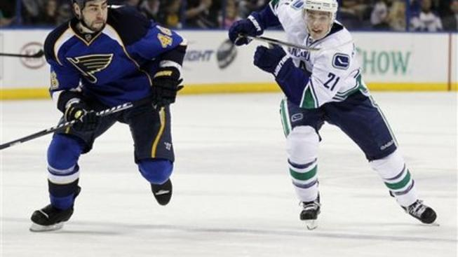 St. Louis Blues' Roman Polak, left, of the Czech Republic, and Vancouver Canucks' Mason Raymond, chase the puck during the first period of an NHL hockey game Thursday, Jan. 12, 2012, in St. Louis. (AP Photo/Jeff Roberson)