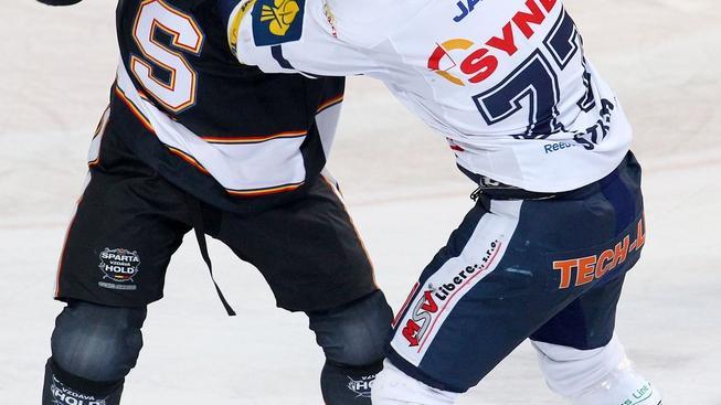 V pražské Tipsport  areně se 22. ledna 2012 odehrálo utkání 42. kola Tipsport extraligy mezi celky HC Sparta Praha a Bílí Tygři Liberec. Na snímku David Kočí (vlevo) a David Štich (vpravo). MILAN KAMMERMAYER / MEDIAFAX
