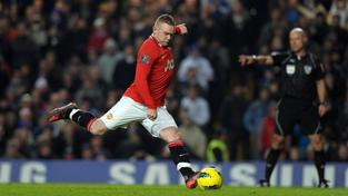 Image: 0116664350, License: Rights managed, Wayne Rooney Scores 1st goal from the penalty spot Manchester United 2011/12 Chelsea V Manchester United 05/02/12 The Premier League Photo: Robin Parker Fotosports International  Photo via Newscom, Place: England, Model Release: No or not aplicable, Credit line: Profimedia.cz, Newscom