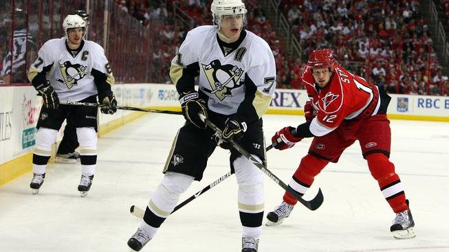 RALEIGH, NC - MAY 23:  Evgeni Malkin #71 of the Pittsburgh Penguins skates against the Carolina Hurricanes during Game Three of the Eastern Conference Championship Round of the 2009 Stanley Cup Playoffs at RBC Center on May 23, 2009 in Raleigh, North Carolina.  (Photo by Jim McIsaac/Getty Images)