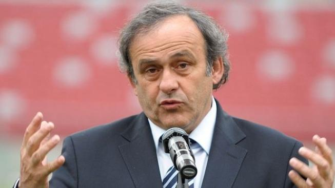 Image: 0125988194, License: Rights managed, UEFA President Michel Platini speaks during a press conference at the National Stadium in Warsaw on April 12, 2012.  The threat of hooliganism remains a key concern ahead of Euro 2012 in Poland and Ukraine, Platini warned on Thursday., Place: POLAND, Model Release: No or not aplicable, Credit line: Profimedia.cz, AFP