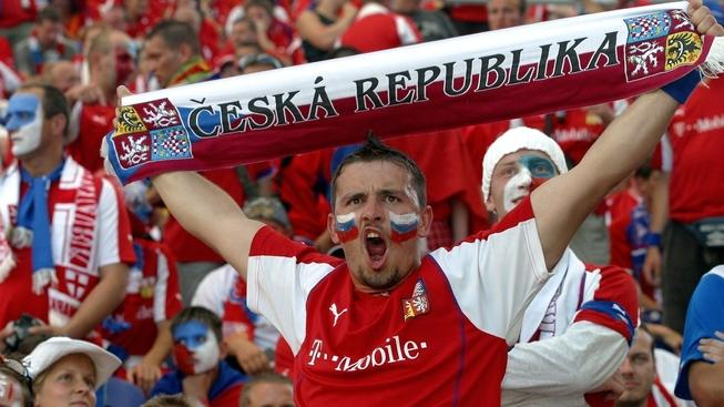 Image: 0017358661, License: Rights managed, 27 June 2004: A Czech Republic fan with a painted face holds up a scarf in the stands before the Euro 2004 Quarter-Final match between the Czech Republic and Denmark played at the Estadio do Dragao, Porto, Portugal. The Czech Republic won the match 3-0 to advance to the Semi-Finals., Place: Oporto,Portugal, Model Release: No or not aplicable, Credit line: Profimedia.cz, Actionplus