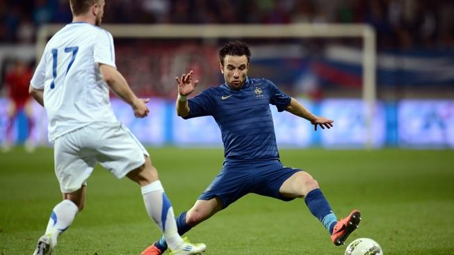 Image: 0130970293, License: Rights managed, French froward Mathieu Valbuena (R) vies with Estonia's defender Enar Jaager during the friendly football match France vs Estonia on June 5, 2012, at the Le Mans Stadium in Le Mans, western France. France won 4-0., Place: FRANCE, Model Release: No or not aplicable, Credit line: Profimedia.cz, AFP
