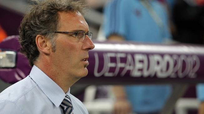 Image: 0136857949, License: Rights managed, Restrictions: Mandatory credit, 1162499 Ukraine, Donetsk. 06/23/2012 Head coach of the French team Laurent Blanc in the European Football Championship match between teams of Spain and France in Donetsk., Place: Ukraine, Model Release: No or not aplicable, Credit line: Profimedia.cz, Ria Novosti