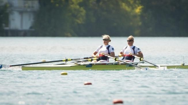 Image: 0101957540, License: Rights managed, Lenka Antosova (L) and Jitka Antosova from the Czech Republic compete in the Women's Double Sculls final race on day seven of the FISA Rowing World Championships at Lake Bled, on September 3, 2011, in Bled. They placed 6th. AFP PHOTO / Jure Makovec, Place: SLOVENIA, Model Release: No or not aplicable, Credit line: Profimedia.cz, AFP