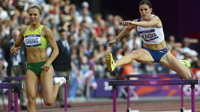 Image: 0139311958, License: Rights managed, Czech Republic's Zuzana Hejnova (R) and Lithuania's Egle Staisiunaite compete in the women's 400m hurdles heats at the athletics event during the London 2012 Olympic Games on August 5, 2012 in London., Place: UNITED KINGDOM, Model Release: No or not aplicable, Credit line: Profimedia.cz, AFP