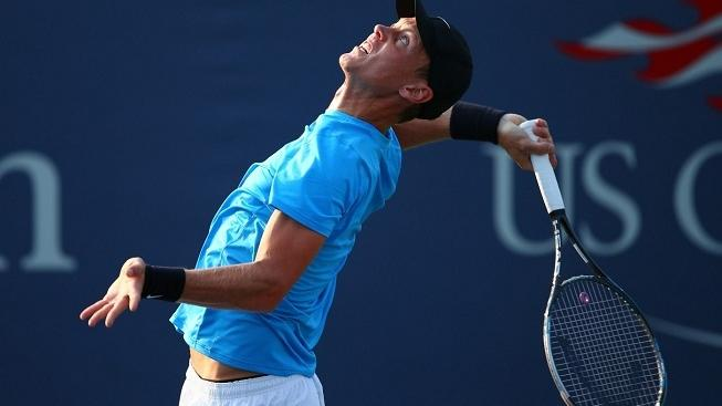 Image: 0140566854, License: Rights managed, NEW YORK, NY - AUGUST 30: Tomas Berdych of Czech Republic serves during his men's singles second round match against Jurgen Zopp of Estonia on Day Four of the 2012 US Open at USTA Billie Jean King National Tennis Center on August 30, 2012 in the Flushing neigborhood of the Queens borough of New York City.   Elsa, Place: UNITED STATES, Model Release: No or not aplicable, Credit line: Profimedia.cz, AFP