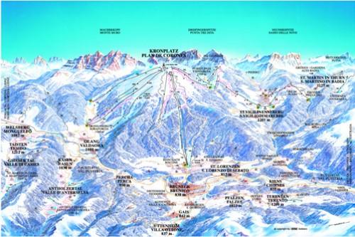 Kronplatz - Mapa lyžařského střediska