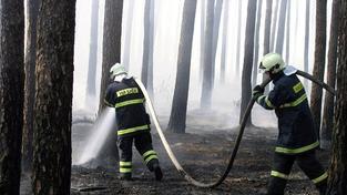 Na Prachaticku hoří nepřípustný les, zasahuje i vrtulník