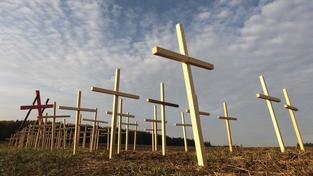 Dokud ty svině rudý budou žít, nebude klid, vzkazuje autor křížů v Dobroníně