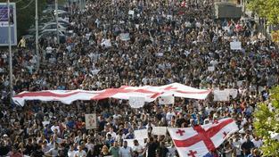 Gruzínské protesty proti Ruské okupaci.
