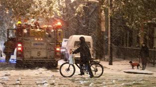 Sněhová bouře v New Yorku.
