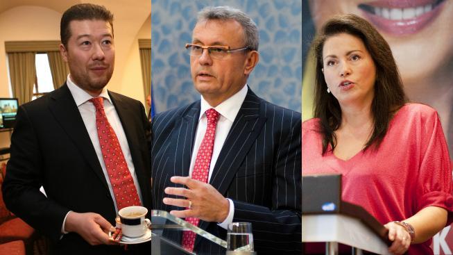 Koláž vyřazených kandidátu: (zleva) Tomio Okamura, Vladimír Dlouhý, Jana Bobošíková