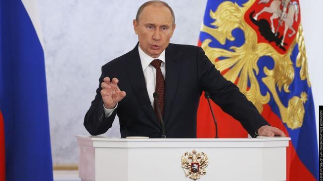 Vladimir Putin při projevu.