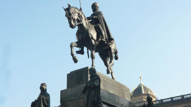 Socha sv. Václava na Václavském náměstí.