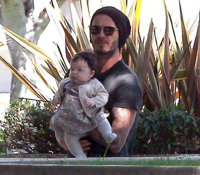 Harper se svým otcem Davidem Beckhamem
