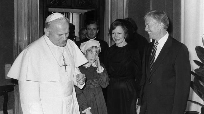 Jan Pavel II s americkým prezidentem Jimmym Carterem, 1976
