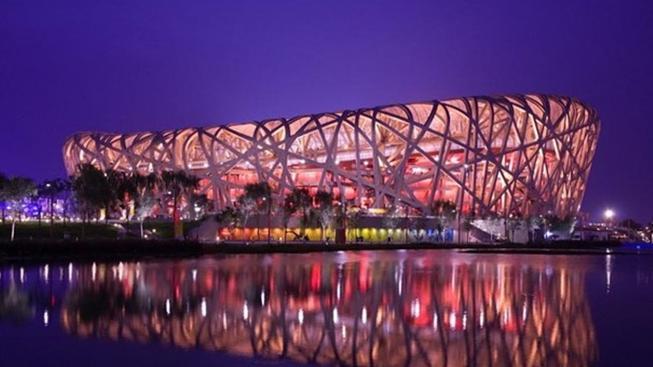 Národní stadion v Pekingu zvaný Ptačí hnízdo