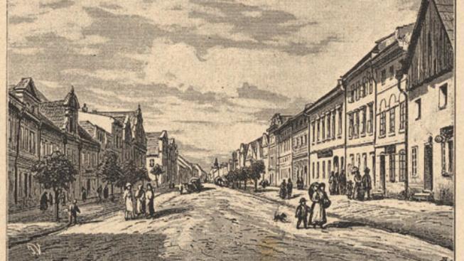 Náměstí ve Zlatých horách na konci 19. století