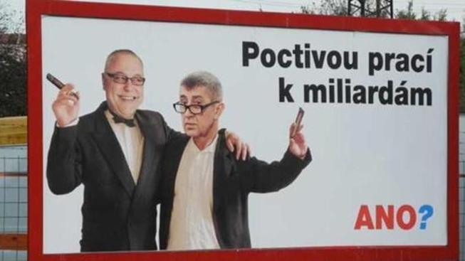 Posměšný billboard ANO
