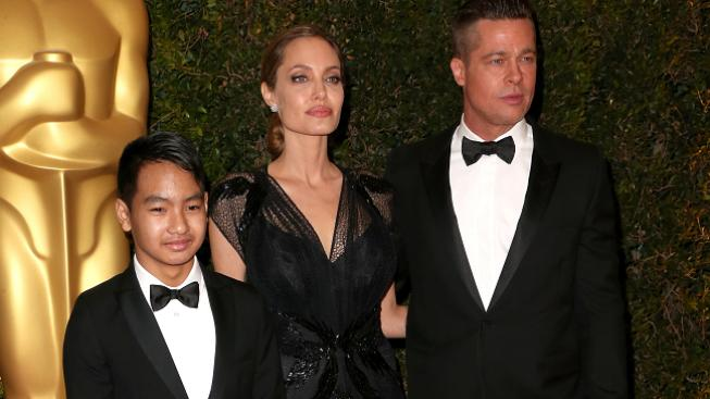 Angelina s Bradem a synem Maddoxem