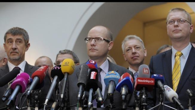 Tisková konference nové koalice ČSSD, ANO a KDU-ČSL