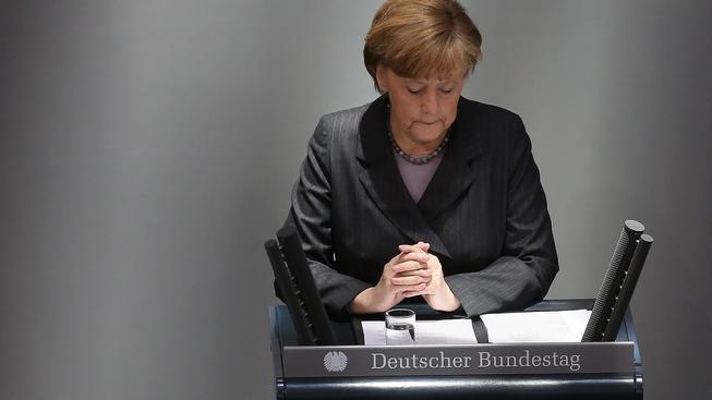Angela Merkelová při dnešním projevu v německém parlamentu