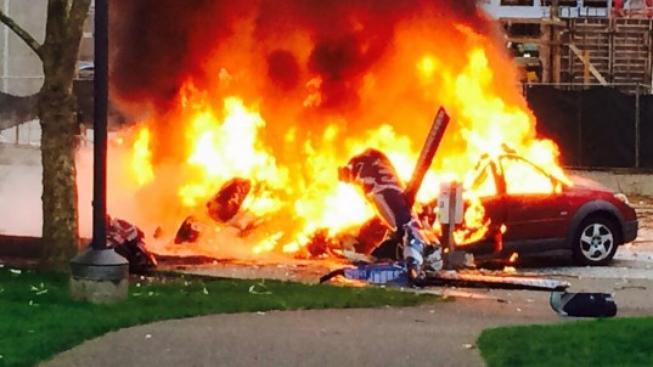 Výbuch vrtulníku