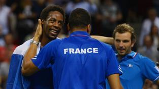 Gael Monfils se raduje z vítězství proti Německu