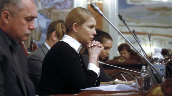 Julija Tymošenková na zasedání Nejvyššího soudu, který ji plně rehabilitoval