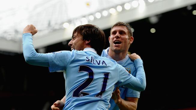 David Silva a James Milner z Manchester City