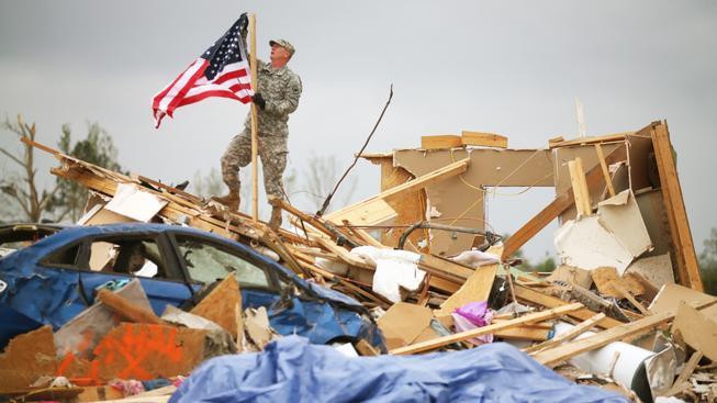 Dům zničený tornádem. Arkansas, USA, 29. 4. 2014.
