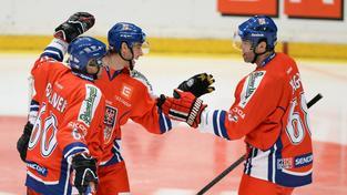 Jaromír Jágr se raduje se spoluhráči v utkání se Švédy